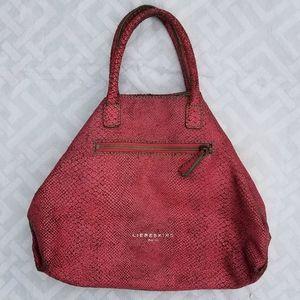 LIEBESKIND Pink Snake Leather Large Handbag